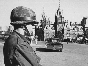 Soldier standing guard on Parliament Hill during the FLQ 1970  October Crisis. War Measures Act.  UPI Photo