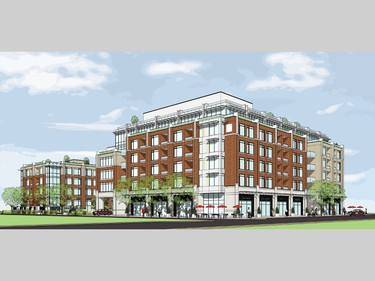 Draft rendering of Domicile's planned mid-rise condos for a 3.5-acre parcel of land on Main Street formerly owned by the Sisters of the Sacred Heart.