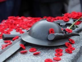 Poppies sit on the Tomb of the Unknown Soldier , November 11, 2014.