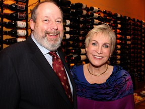 Dan Greenberg (donning an Ottawa Senators necktie) and his wife, Barbara Crook, of presenting sponsor Fergulsea Properties, at the Italian-styled gala, Mangia! Mangia!, for the Queensway Carleton Hospital Foundation, held Saturday, Nov. 8, 2014, at the Sala San Marco banquet hall.