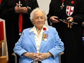 Norma Zelia Watts, 93, waits to receive her medal as the Order of St. George Investiture Ceremony for Field Knights and Field Dames was held at The Perley and Rideau Veterans' Health Centre honouring a group of twelve veterans. The Order of St. George was inspired by the Fraternal Society of Knighthood of St. George founded 680 years ago and was established in Canada in March 2003. The most important charitable function of the Order is contributing funds to support the families of fallen or wounded Canadian Armed Forces personnel.