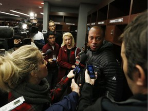 Ottawa Redblacks quarterback Henry Burris speaks to reporters on Sunday, when the players cleaned out their lockers after a 2-16 expansion season.