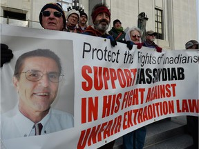 Supporters of Hassan Diab rally outside the Supreme Court of Canada in Ottawa on Thursday, November 13, 2014.