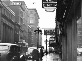 Sparks Street in an undated photo, with the Citizen building at right and Birks at left. In 1960, the street was closed to vehicles and became a pedestrian mall.