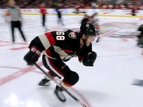 Mike Hoffman is a blur of speed during this competition.