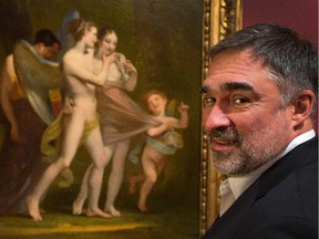 """National Gallery of Canada Director Marc Mayer stands with one of his favourite pieces of art, """"Love Seduces Innocence, Pleasure Entraps, Remorse Follows"""" by Peirre-Paul Prud'hon, c. 1809-1810."""
