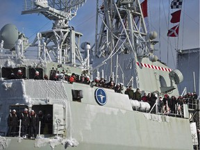 HMCS Toronto returns to port in Halifax on Sunday, Jan. 18, 2015. The frigate was on a six-month deployment with Operation Reassurance in the Mediterranean Sea.