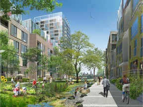 Illustration of proposed development by the Windmill Development Group for the Domtar Lands at the industrial brownfield site on Chaudière and Albert Islands and adjacent riverfront in downtown Gatineau