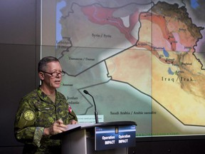 Commander Canadian Joint Operations Command Lt.-Gen. Jonathan Vance speaks during a technical briefing on the Iraq mission Jan. 19.
