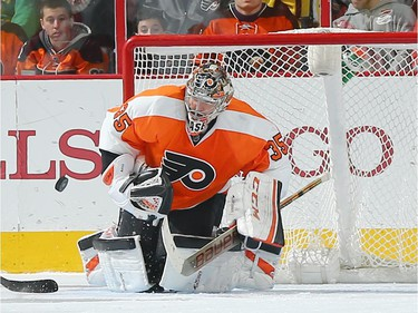 Steve Mason #35 of the Philadelphia Flyers stops a shot in the second period.