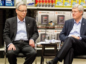 Prime Minister Stephen Harper and Finance Minister Joe Oliver participate in a roundtable discussion at a Canadian Tire Store in Mississauga, Ont., in December.