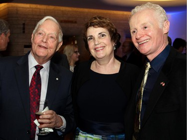 From left, award-winning author and historian Michael Bliss at the Canadian Museum of History on Wednesday, February 18, 2015, with Shelley Crowley and Macdonald-Laurier Institute managing director Brian Lee Crowley for a dinner organized by the MLI to celebrate the 200th anniversary of Sir John A. Macdonald's birthdate.