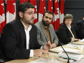 Abdullah Almalki, Muayyed Nureddin, Barb Jackman, Counsel for Ahmad El Maati, Ahmad El Maati speak during a press conference concerning the release by the government of the public report of the Internal Inquiry into the actions of Canadian officials in Relation to Abdullah Almalki, Ahmad Abou-Elmaati and Muayyed Nureddin. The press conference was held at the National Press Theatre in Ottawa, October 21, 2008. Photo by Jean Levac, Ottawa Citizen