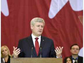 Prime Minister Stephen Harper makes an announcement in Richmond Hill, Ont., on Friday, Jan. 30, 2015. Harper spoke about a newly tabled anti-terrorism legislation that would give Canada's spy agency more power to thwart a suspected extremist's travel plans, disrupt bank transactions and covertly interfere with radical websites.