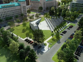 A drawing of the winning ABSTRAKT Studio Architecture concept for the National Memorial to Victims of Communism which will be situated near the Supreme Court of Canada.