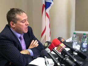 Avalon MP Scott Andrews speaks at a news conference at his constituency office in Conception Bay South, N.L., on Thursday, March 19, 2015. Andrews accepted the findings of an executive summary of an independent investigation into allegations of sexual misconduct but called the process frustrating.