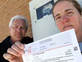 Hydro One has corrected Rachel and Conrad Potvin's electricity bill, but the couple still owe more than $21,000.  They're angry Hydro One took so long to bill them.