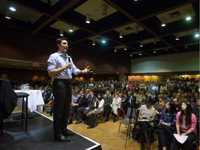 Liberal Leader Justin Trudeau addresses students at the University of British Columbia in Vancouver, B.C., on Wednesday March 4, 2015.