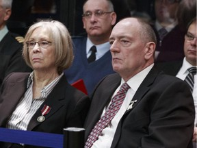 OTTAWA, ON: JANUARY 9, 2013 :  Sheila (left) and Shaun Fynes listen to the Military Police Complaints Commission investigation of the death of their son Edmonton soldier Stuart Langridge.  ( Chris Mikula / Ottawa Citizen) For NATIONAL story Assignment #111601