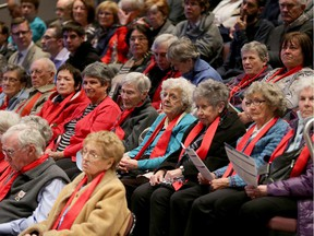United in Red: Residents of Unitarian House all wore red scarfs to show of solidarity. Their retirement home would be directly affected by the extension.