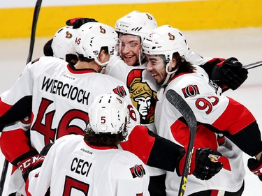 Bobby Ryan is congratulated on his goal in the first period as the Ottawa Senators take on the Montreal Canadiens at the Bell Centre in Montreal for Game 5.