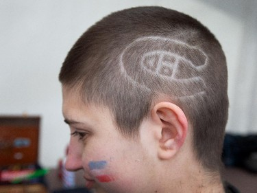Carol Anne Laporte-Eare has a Habs logo shaved on her head the Ottawa Senators get set to take on the Montreal Canadiens at the Bell Centre in Montreal for Game 5 of the NHL Conference playoffs on Friday evening.