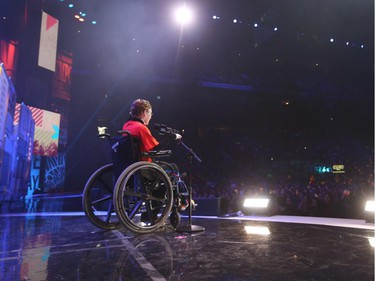 Jonathan Pitre inspired students at the We Day festivities in Ottawa, April 01, 2015.