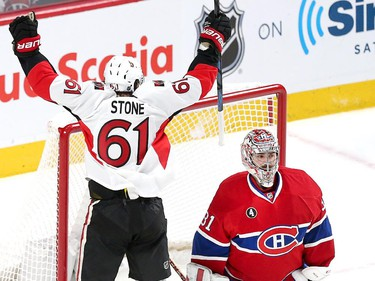Mark Stone celebrates the third Senator goal in the second period as the Ottawa Senators take on the Montreal Canadiens at the Bell Centre in Montreal for Game 5 of the NHL Conference playoffs on Friday evening.