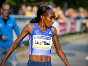 Gladys Cherono was the first person to cross the finish line of the 10K race at Tamarack Ottawa Race Weekend Saturday May 23, 2015.