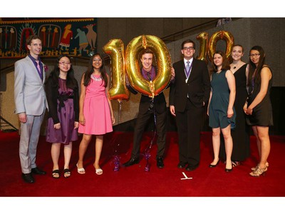 Cappies nominees for Critic Team from Bell High School arrive on the Red Carpet, prior to the start of the 10th annual Cappies Gala awards, held at the National Arts Centre, on June 07, 2015.