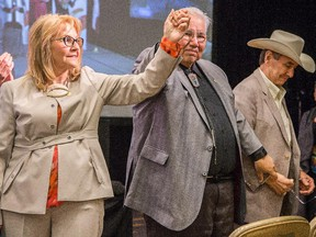 Dr. Marie Wilson, Justice Murray Sinclair and Chief Wilton Littlechild are introduced to the audience during the presentation of the report of the Truth and Reconciliation Commission in Ottawa.