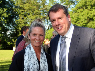Jane Forsyth with lawyer Chris Spiteri, board chair of Music and Beyond, at a reception hosted by the Austrian ambassador in Rockcliffe Park on Tuesday, June 2, 2015.