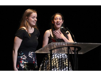 The winner(s) for Critics' Favorite Play: The Madwoman of Chaillot, Elmwood School, accept(s) their award, during the 10th annual Cappies Gala awards, held at the National Arts Centre, on June 07, 2015.