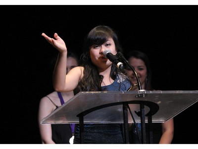 The winner(s) for Lead Actress in a Musical: Bernice Reyes, Lester B. Pearson Catholic High School for The Sound of Music, accept(s) their award, during the 10th annual Cappies Gala awards, held at the National Arts Centre, on June 07, 2015.
