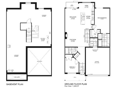 Floor plan of the Turnberry, one of the new eQ Series of bungalow towns. It's a two-bedroom with 1,329 square feet.