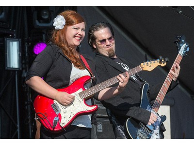 Angie Russell and J.P. Amyotte of Bluestone & the Memphis Moonshine on the Monster Energy Stage as day 8 of the RBC Ottawa Bluesfest gets underway at the Canadian War Museum.