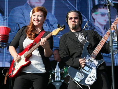 Angie Russell and Adam Bell of Bluestone and the Memphis Moonshine during their performance on the Monster Energy Stage at Bluesfest in Ottawa, Ont. on Thursday July 16, 2015.