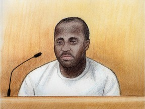 Artist's sketch of Deinsberg St-Hilaire at his bail hearing, July 13, 2015.