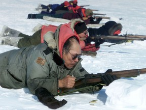 Canadian Rangers use their Lee Enfield rifles. Photo courtesy DND
