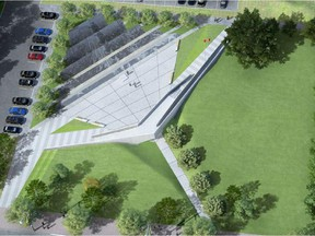 Overhead view of the design for the Memorial to the Victims of Communism on Wellington St. in Ottawa.