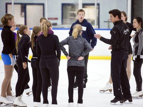 Olympic dancer champion Scott Moir, right,  hosted a special master class with partner, Tessa Virtue, not picture, for figure skaters at the Nepean Sportsplex in Ottawa Wednesday.