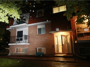 Ottawa police investigate after a man was stabbed to death inside a basement apartment at 6632 Notre Dame St. in Orleans (Ottawa), Tuesday, July 7, 2015.