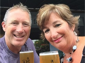 Garry Galley and his wife, Terri-Lynn, sample Whiprsnapr's Slingr beer. A percentage of sales of the Ottawa brewery's new offering will go to the the Do It For Daron charity.