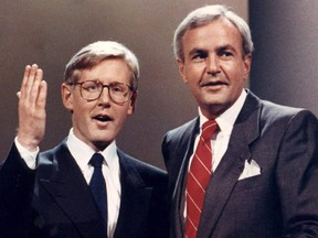 Liberal Leader David Peterson (right), and NDP Leader Bob Rae in 1990.