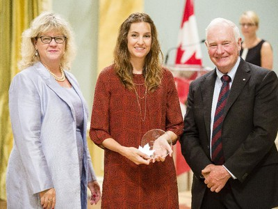 Katie Alexander of Employment and Social Development Canada, center, is congratulated byJanice Charette, clerk of the privy council, left, and David Johnston, Governor General of Canada, right, for receiving the Public Service Award of Excellence for Excellence in Citizen-Focused Service Delivery at Rideau Hall Wednesday September 16, 2015. (Darren Brown/Ottawa Citizen) - Assignment 121627