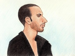 A sketch depicts Rene Goudreau, who is accused of killing his mother, 53-year-old Lucie Goudreau.
