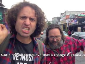 Screen grab of Paul Kolinski's anti-Harper video Vote that F*cker Out, one of several songs from Canadian musicians that take issue with the Conservative leader and his policies.