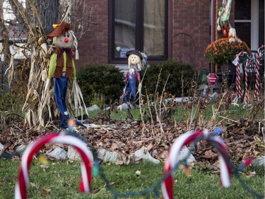 Autumn scarecrows are still out as Taffy Lane residents begin putting out their Christmas decorations.