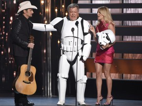 William Shatner as a Star Wars stormtrooper with Brad Paisley and Carrie Underwood at the 49th annual CMA Awards. on Nov. 4 in Nashville.