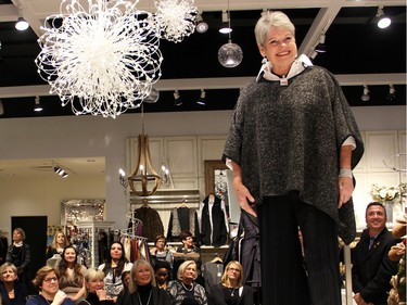 Bruyère Foundation board member and retired Ottawa Citizen editor Sheila Brady was a volunteer model at the Fashion FUNraiser for Bruyère, held at Shepherd's in the Train Yards shopping district on Monday, November 23, 2015.